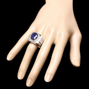 8.20 Carats Natural Diamond & Blue Sapphire 14K Solid White Gold Men's Ring