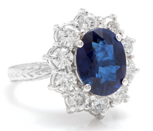 Load image into Gallery viewer, 4.80 Carats Exquisite Natural Blue Sapphire and Diamond 14K Solid White Gold Ring