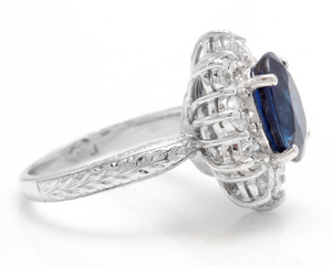 4.80 Carats Exquisite Natural Blue Sapphire and Diamond 14K Solid White Gold Ring