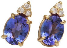 Load image into Gallery viewer, Exquisite 4.18 Carats Natural Tanzanite and Diamond 14K Solid Yellow Gold Stud Earrings