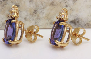 Exquisite 4.18 Carats Natural Tanzanite and Diamond 14K Solid Yellow Gold Stud Earrings