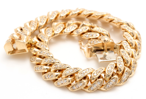 Very Impressive 6.00 Carats Natural Diamond 14K Solid Yellow Gold Men's Miami Cuban Link Bracelet