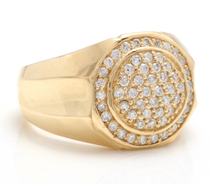 1.00Ct Carats Natural Diamond 14K Solid Yellow Gold Men's Ring