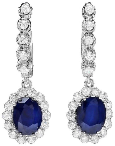 Exquisite 5.70 Carats Natural Sapphire and Diamond 14K Solid White Gold Earrings