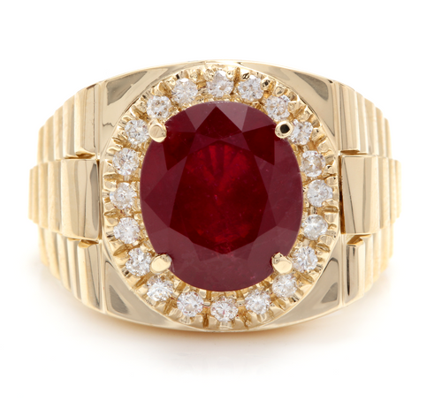 10.70 Carats Natural Diamond & Ruby 14K Solid Yellow Gold Men's Ring