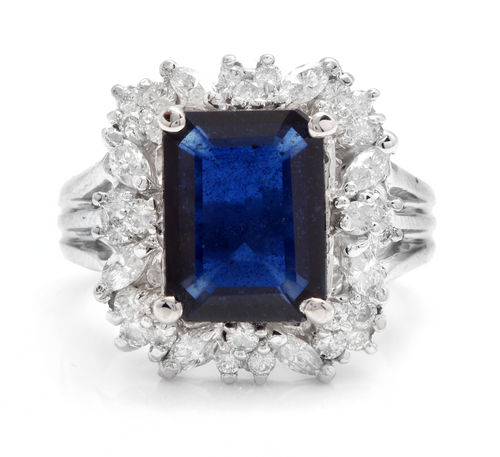 9.30 Carats Exquisite Natural Blue Sapphire and Diamond 14K Solid White Gold Ring