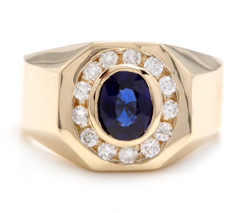 2.30 Carats Natural Diamond & Blue Sapphire 14K Solid Yellow Gold Men's Ring