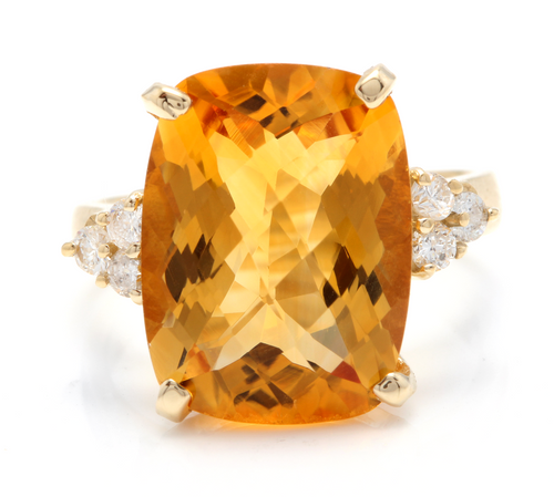 9.35 Carats Natural Very Nice Looking Citrine and Diamond 14K Solid Yellow Gold Ring
