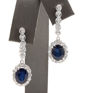 Exquisite 6.70 Carats Natural Sapphire and Diamond 14K Solid White Gold Earrings
