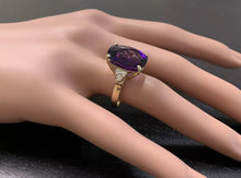 Load image into Gallery viewer, 9.35 Carats Natural Impressive Amethyst and Diamond 14K Yellow Gold Ring
