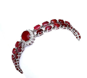 Very Impressive 23.30 Carats Natural Red Ruby & Diamond 14K Solid White Gold Bracelet