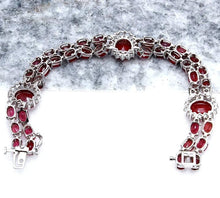 Load image into Gallery viewer, Very Impressive 23.30 Carats Natural Red Ruby & Diamond 14K Solid White Gold Bracelet