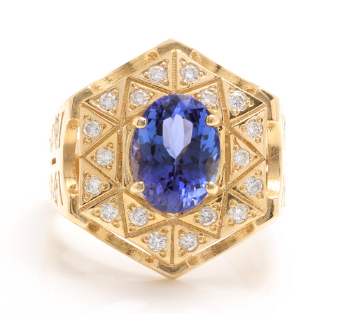 5.35 Carats Natural Tanzanite and Diamond 14K Solid Yellow Gold Men's Ring