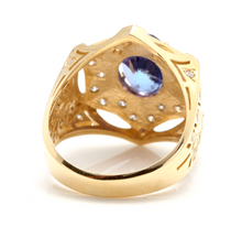 Load image into Gallery viewer, 5.35 Carats Natural Tanzanite and Diamond 14K Solid Yellow Gold Men's Ring