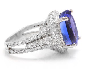 13.00 Carats Natural Very Nice Looking Tanzanite and Diamond 14K Solid White Gold Ring
