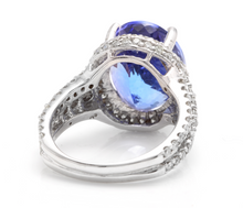 Load image into Gallery viewer, 13.00 Carats Natural Very Nice Looking Tanzanite and Diamond 14K Solid White Gold Ring