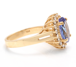 4.10 Carats Natural Very Nice Looking Tanzanite and Diamond 14K Solid Yellow Gold Ring