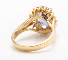 Load image into Gallery viewer, 4.10 Carats Natural Very Nice Looking Tanzanite and Diamond 14K Solid Yellow Gold Ring
