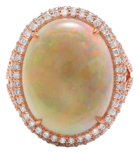 8.60 Carats Natural Impressive Australian Opal and Diamond 14K Solid Rose Gold Ring
