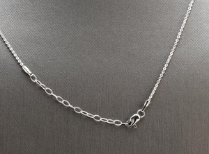 Splendid 14k Solid White Gold Infinity Necklace with Natural Diamond Accent and Rough Rubies