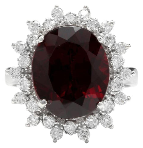 8.80 Carats Natural Impressive Red Garnet and Diamond 14K White Gold Ring