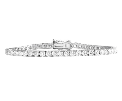 Very Impressive 4.15 Carats Natural VS Diamond 14K Solid White Gold Bracelet
