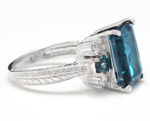 7.75 Carats Natural London Blue Topaz and Diamond 14K Solid White Gold Ring