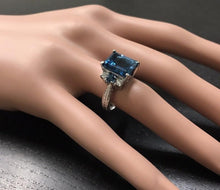 Load image into Gallery viewer, 7.75 Carats Natural London Blue Topaz and Diamond 14K Solid White Gold Ring