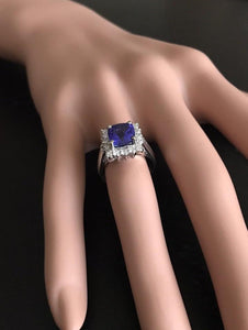 3.10 Carats Natural Very Nice Looking Tanzanite and Diamond 14K Solid White Gold Ring