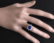 Load image into Gallery viewer, 3.10 Carats Natural Very Nice Looking Tanzanite and Diamond 14K Solid White Gold Ring