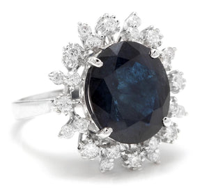 9.80 Carats Exquisite Natural Blue Sapphire and Diamond 14K Solid White Gold Ring