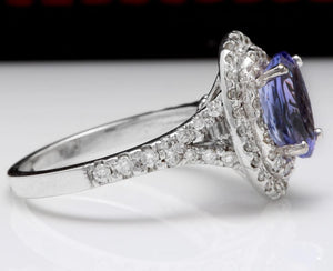 4.00 Carats Natural Very Nice Looking Tanzanite and Diamond 14K Solid White Gold Ring