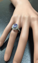 Load image into Gallery viewer, 4.00 Carats Natural Very Nice Looking Tanzanite and Diamond 14K Solid White Gold Ring