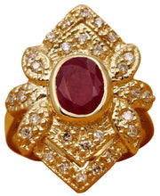 Load image into Gallery viewer, 2.81 Carats Impressive Natural Red Ruby and Diamond 14K Yellow Gold Ring