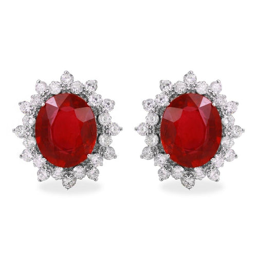 Exquisite 11.03 Carats Ruby and Natural Diamond 14K Solid White Gold Earrings