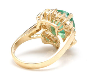 5.30 Carats Natural Emerald and Diamond 14K Solid Yellow Gold Ring