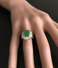 Load image into Gallery viewer, 5.30 Carats Natural Emerald and Diamond 14K Solid Yellow Gold Ring