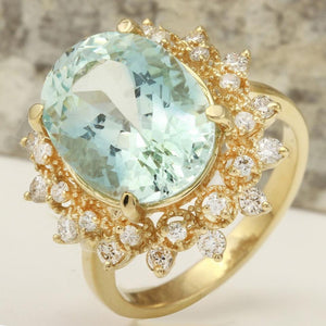 7.59 Carats Exquisite Natural Aquamarine and Diamond 14K Solid Yellow Gold Ring