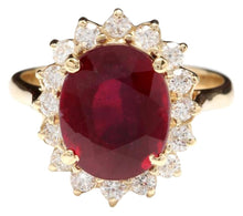 Load image into Gallery viewer, 6.70 Carats Impressive Red Ruby and Natural Diamond 14K Yellow Gold Ring