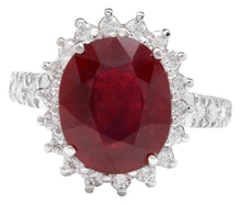 Load image into Gallery viewer, 7.90 Carats Impressive Natural Red Ruby and Diamond 14K White Gold Ring