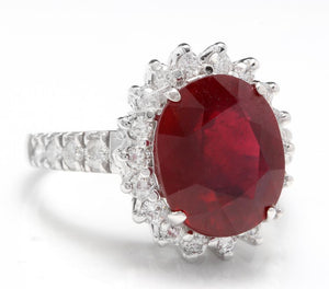 7.90 Carats Impressive Natural Red Ruby and Diamond 14K White Gold Ring