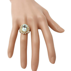 6.00 Carats Exquisite Natural Aquamarine and Diamond 14K Solid Yellow Gold Ring