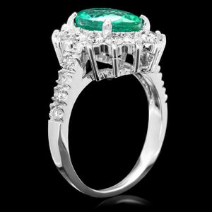 3.50 Carats Natural Emerald and Diamond 14K Solid White Gold Ring