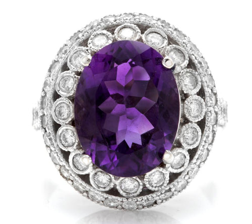 7.20 Carats Natural Amethyst and Diamond 14K Solid White Gold Ring