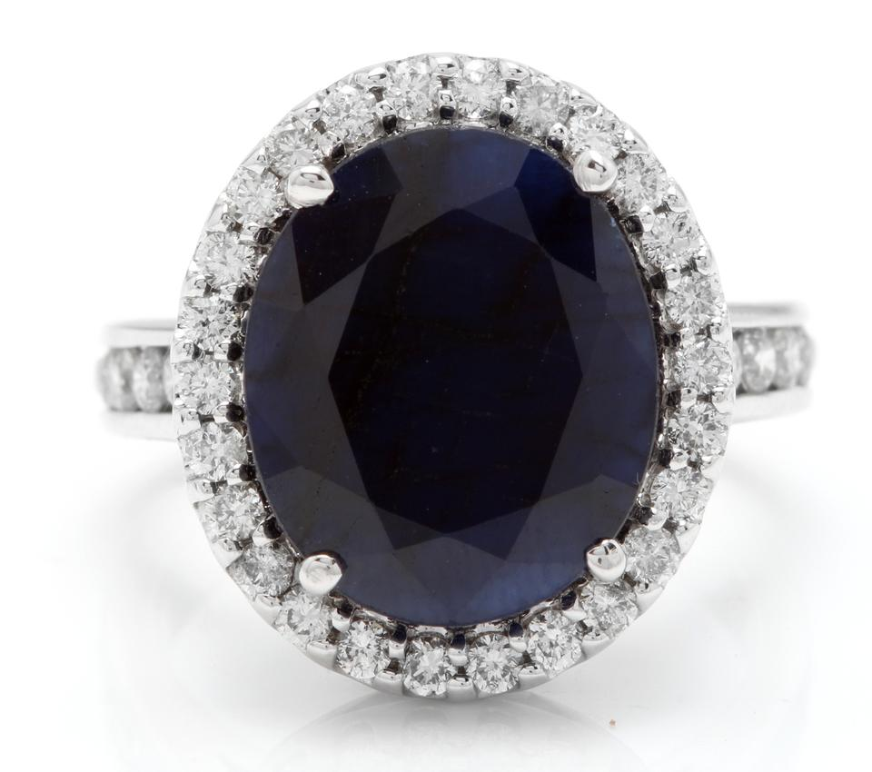 9.80 Carats Natural Sapphire and Diamond 14K Solid White Gold Ring