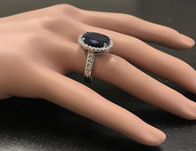 Load image into Gallery viewer, 9.80 Carats Natural Sapphire and Diamond 14K Solid White Gold Ring