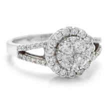 Load image into Gallery viewer, Splendid 1.10 Carats Natural Diamond 18K Solid White Gold Ring