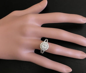 Splendid 1.10 Carats Natural Diamond 18K Solid White Gold Ring