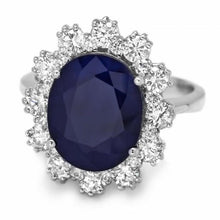 Load image into Gallery viewer, 6.20 Carats Natural Sapphire and Diamond 14K Solid White Gold Ring