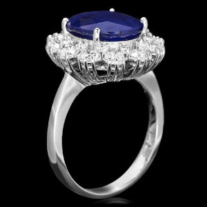 6.20 Carats Natural Sapphire and Diamond 14K Solid White Gold Ring